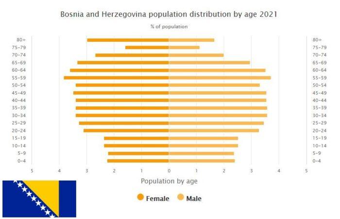 Bosnia and Herzegovina Population Distribution by Age
