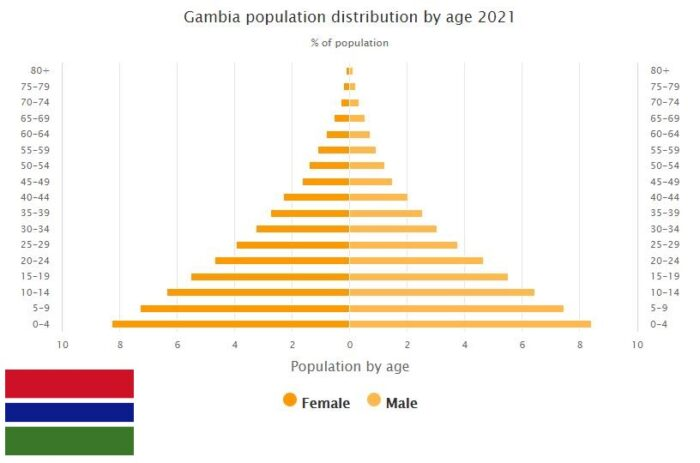 Gambia Population Distribution by Age