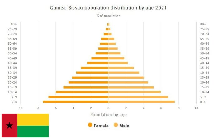 Guinea-Bissau Population Distribution by Age