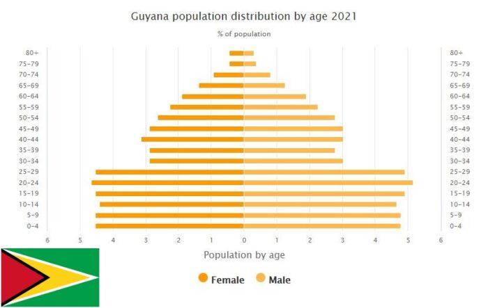 Guyana Population Distribution by Age