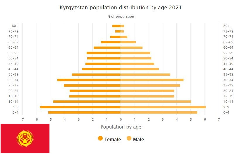 Kyrgyzstan Population Distribution by Age