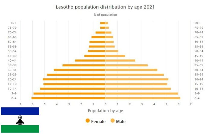 Lesotho Population Distribution by Age