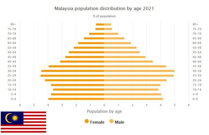 Malaysia Population Distribution by Age