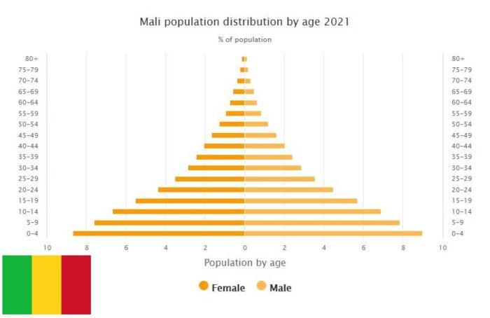 Mali Population Distribution by Age