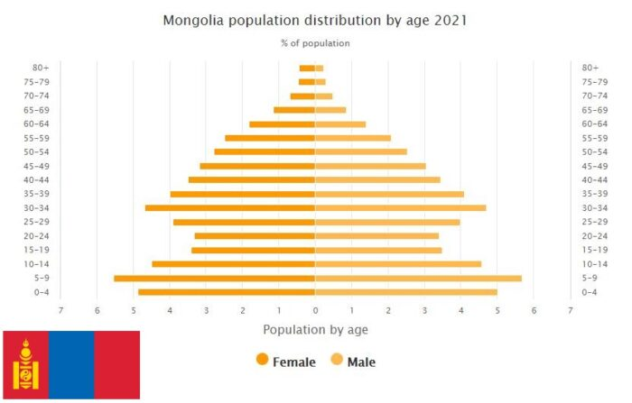 Mongolia Population Distribution by Age
