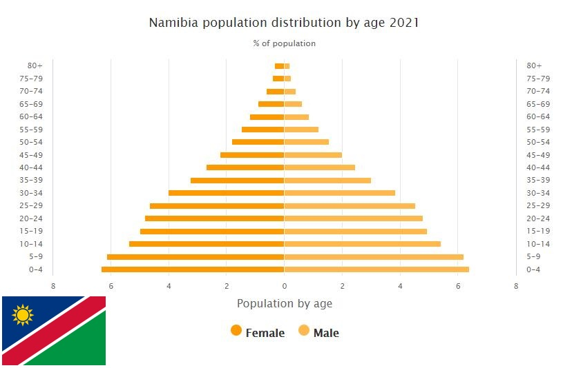 Namibia Population Distribution by Age
