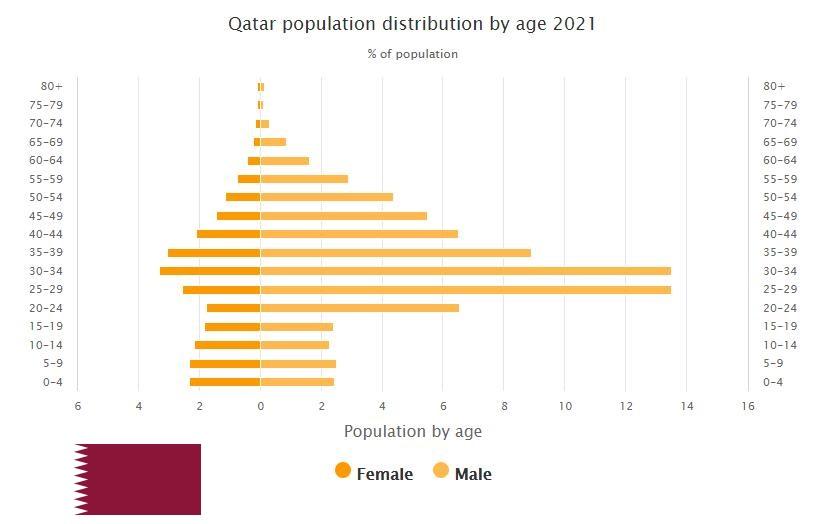 Qatar Population Distribution by Age
