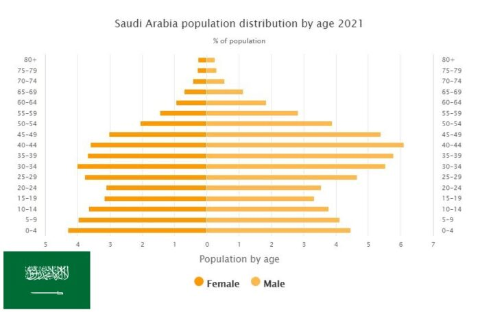 Saudi Arabia Population Distribution by Age