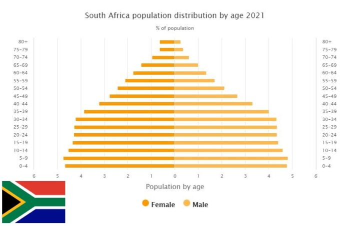 South Africa Population Distribution by Age