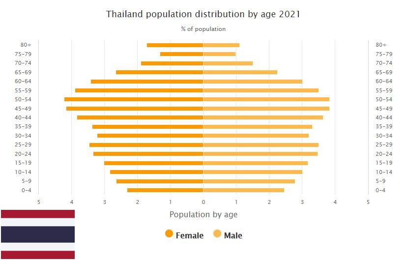 Thailand Population Distribution by Age
