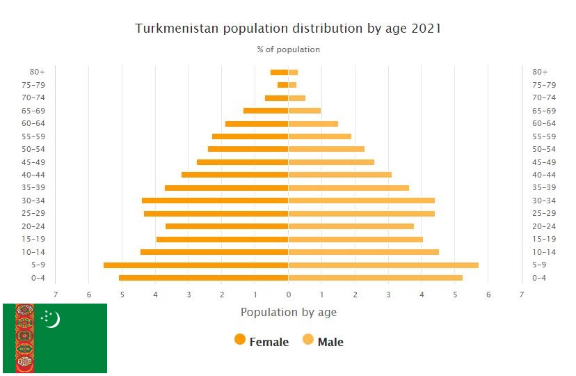 Turkmenistan Population Distribution by Age